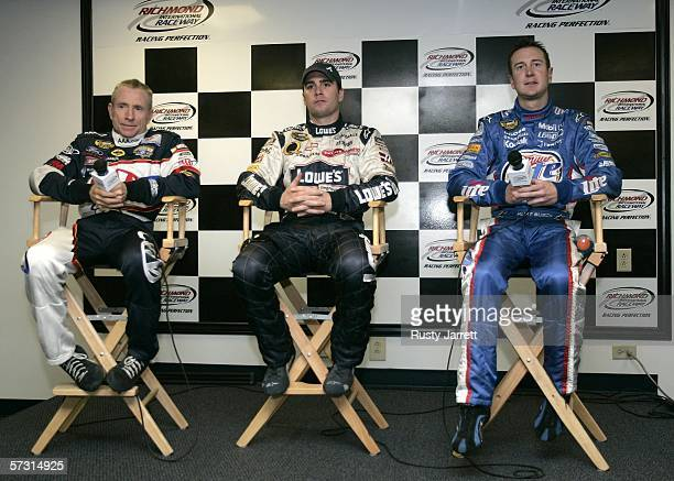 Mark Martin driver of the AAA Ford Jimmie Johnson driver of the Lowes Chevrolet and Kurt Busch driver of the Miller Lite Dodge address the media...