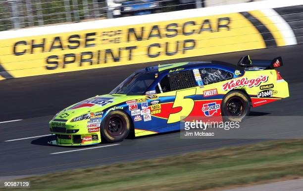 Mark Martin driver of the CARQUEST/Kellogg's Chevrolet drives during the NASCAR Sprint Cup Series Sylvania 300 at the New Hampshire Motor Speedway on...