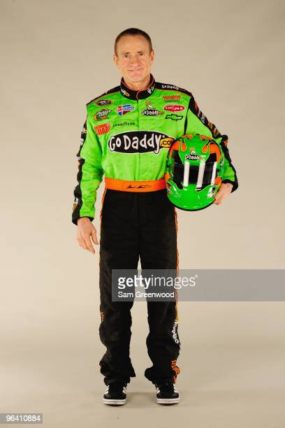 Mark Martin driver of the GoDaddycom Chevrolet poses during NASCAR media day at Daytona International Speedway on February 4 2010 in Daytona Beach...