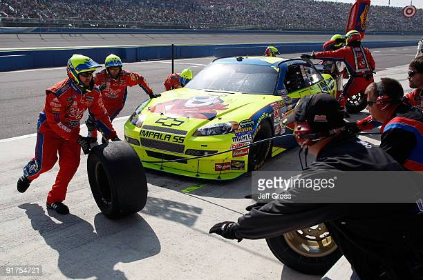 Mark Martin driver of the Kellogg's/CARQUEST Chevrolet comes in for a pit stop during the NASCAR Sprint Cup Series Pepsi 500 at Auto Club Speedway on...