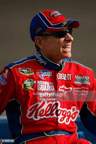 Mark Martin driver of the Kellogg's/CARQUEST Chevrolet stands on pit road during qualifying for the NASCAR Sprint Cup Series Pepsi 500 at Auto Club...