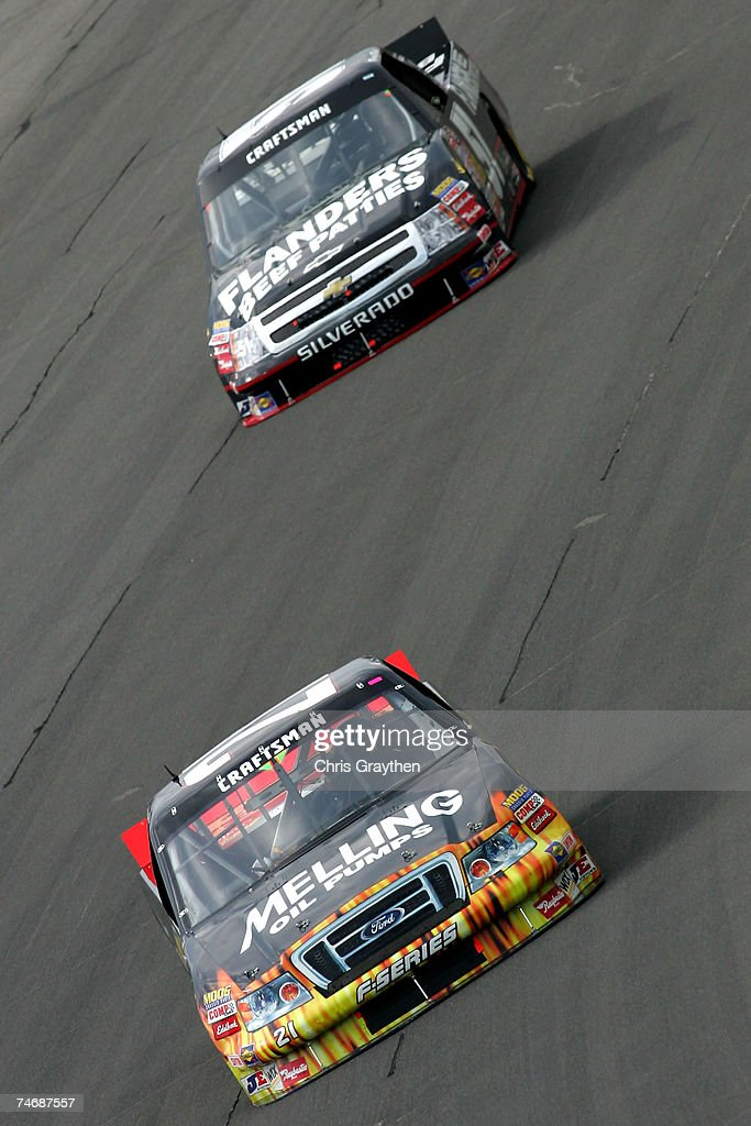Mark Martin, driver of the Melling Oil Pumps Ford, leads