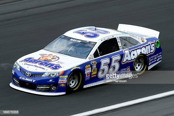 Mark Martin drives the Aaron's Dream Machine Toyota during practice for the NASCAR Sprint Cup Series CocaCola 600 at Charlotte Motor Speedway on May...