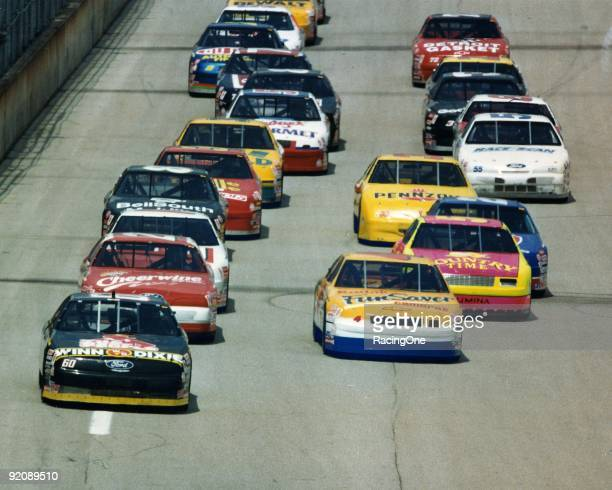 Mark Martin leads in the Busch Series race at Talladega in 1994. Kenny Schrader ended up winning the Fram Filter 500K.