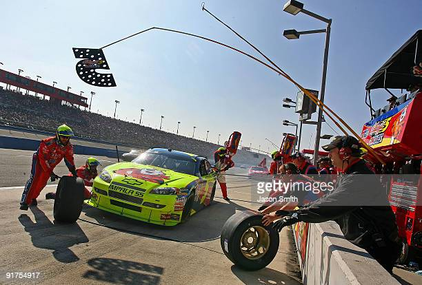 Mark Martin pits the Kellogg's/CARQUEST Chevrolet during the NASCAR Sprint Cup Series Pepsi 500 at Auto Club Speedway on October 11 2009 in Fontana...