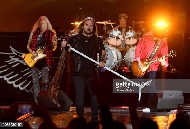 Mark Matejka Johnny Van Zant Michael Cartellone and Gary Rossington of Lynyrd Skynyrd perform onstage during the 2018 iHeartRadio Music Festival at...