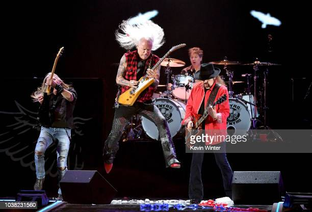 Mark Matejka Rickey Medlocke Michael Cartellone and Gary Rossington of Lynyrd Skynyrd perform onstage during the 2018 iHeartRadio Music Festival at...