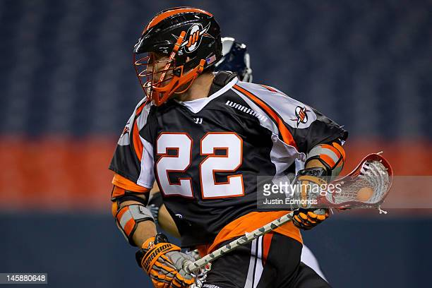 Mark Matthews of the Denver Outlaws in action against the Chesapeake Bayhawks at Sports Authority Field at Mile High on June 2 2012 in Denver...
