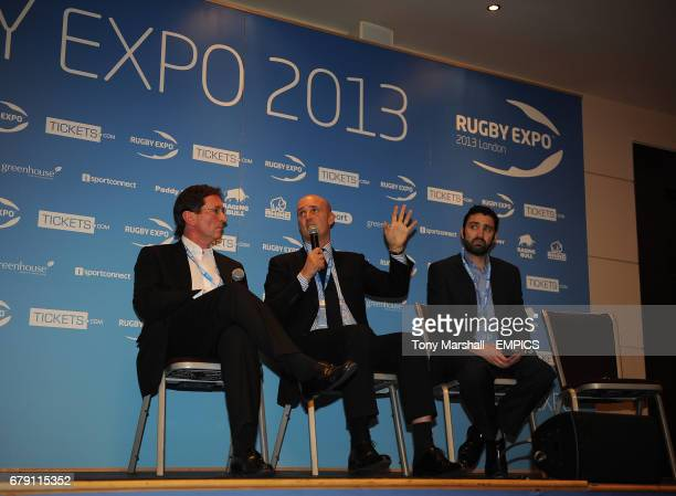 Mark McCafferty of Premiership Rugby Steve Martin of M and C Saachi Sport and Entertainment and Andrew Hore of Ospreys talking during the Plenery...