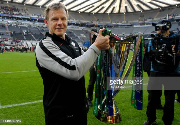 Mark McCall Director of Rugby of Saracens holds the Champions Cup trophy following the Champions Cup Final match between Saracens and Leinster at St...