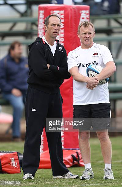 Mark McCall Director of Rugby of Saracens with Brendan Venter Technical Director during an Exhibition match between College Rovers and Saracens at...