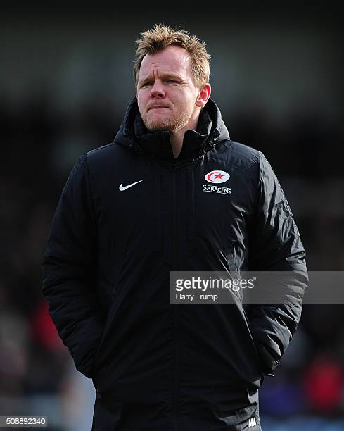 Mark McCall Head Coach of Saracens looks on during the Aviva Premiership match between Exeter Chiefs and Saracens at Sandy Park on February 7 2016 in...