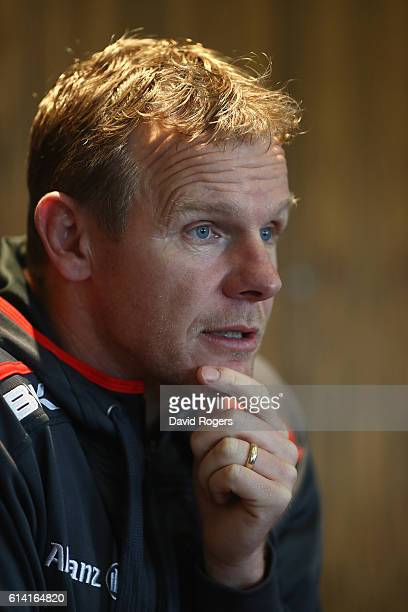 Mark McCall, the Saracens director of rugby, faces the press at a media session held at their training venue on October 12, 2016 in St Albans,...