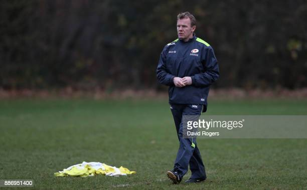 Mark McCall the Saracens director of rugby looks on during the Saracens training session held at Old Albanians Rugby Club on December 6 2017 in St...