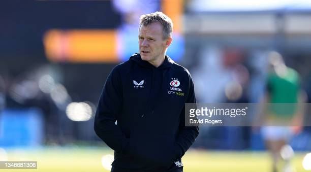 Mark McCall, the Saracens director of rugby, looks on during the Gallagher Premiership Rugby match between Saracens and Wasps at StoneX Stadium on...