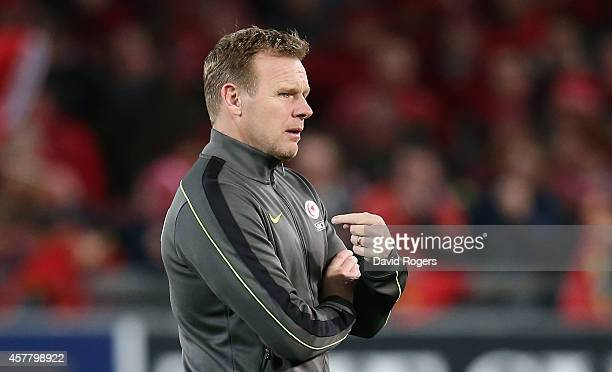 Mark McCall the Saracens director of rugby looks on during the European Rugby Champions Cup match between Munster and Saracens at Thomond Park on...