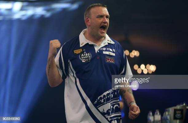 Mark McGeeney of England celebrates during Day Four of the BDO World Darts Championship at Lakeside Shopping Centre on January 10 2018 in Thurrock...