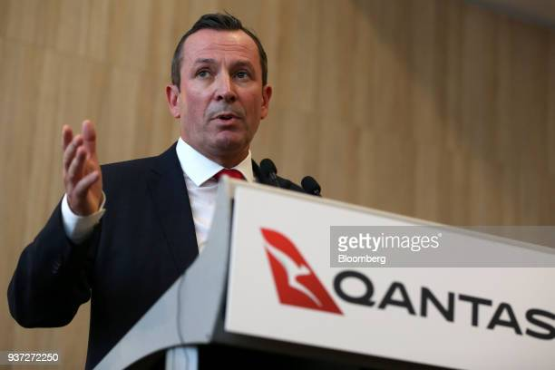 Mark McGowan premier of Western Australia speaks during a media event ahead of Qantas Airways Ltd's inaugural flight to London from Perth Airport in...