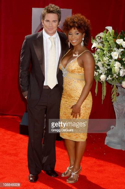 Mark McGrath and Tanika Ray during The 57th Annual Emmy Awards - Arrivals at Shrine Auditorium in Los Angeles, California, United States.