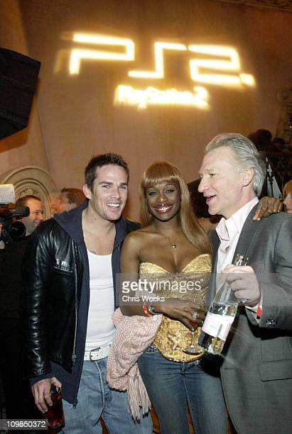 Mark McGrath Coco Johnsen and Bill Maher during PlayStation 2 PreGrammy Party Hosted by Pharrell at The Spider Room in Hollywood California United...