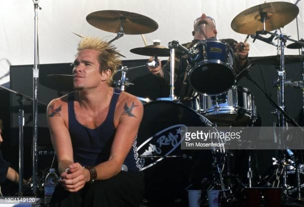 Mark McGrath of Sugar Ray performs Shoreline Amphitheatre on September 13, 1997 in Mountain View, California.