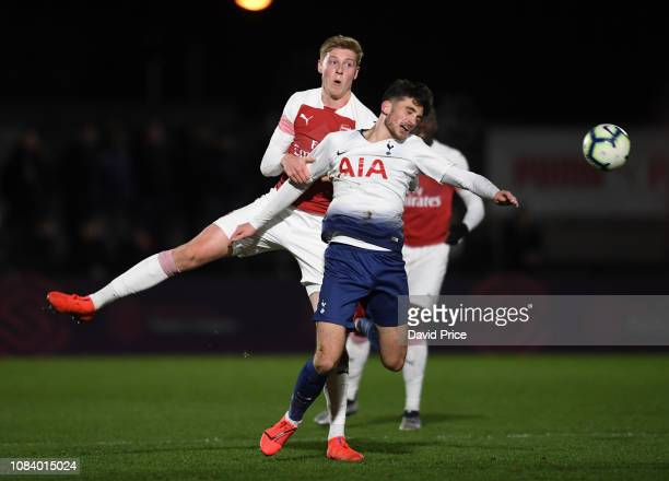 Mark McGuiness of Arsenal challenges Troy Parrott of Tottenham during the match between Arsenal U18 and Tottenham Hotspur U18 in the FA Youth Cup 4th...