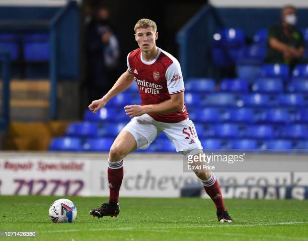 Mark McGuinness of Arsenal during the Leasingcom Cup match between Ipswich Town and Arsenal U21 at Portman Road on September 08 2020 in Ipswich...