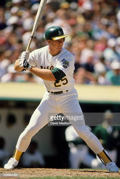 Mark McGwire of the Oakland A's at bat during a Major League Baseball game played in May 1989 at the Oakland Coliseum in Oakland California