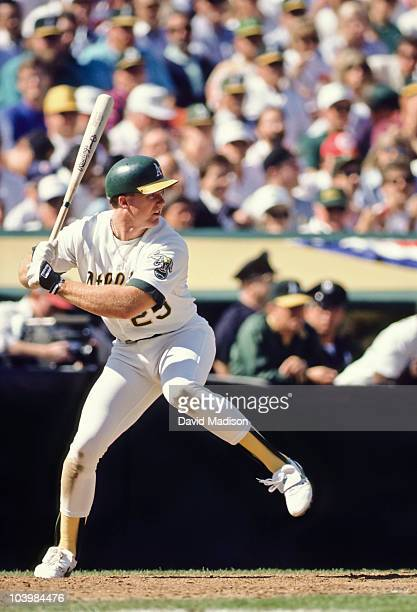 Mark McGwire of the Oakland A's at bat during Game 1 of the American League Championship Series against the Toronto Blue Jays played October 3 1989...