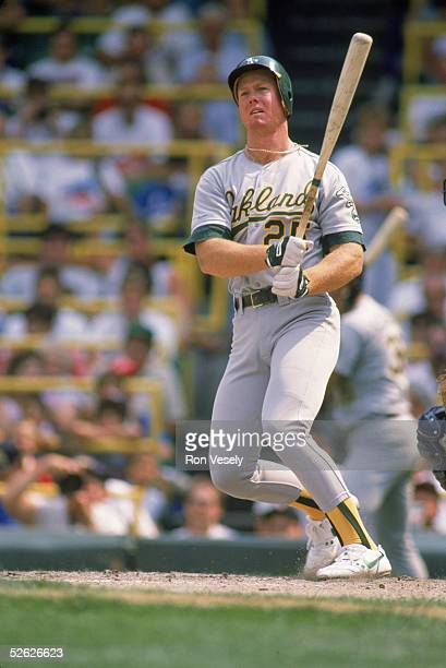 Mark McGwire of the Oakland Athletics bats during a season game Mark McGwire played for the Oakland Athletics from19861997