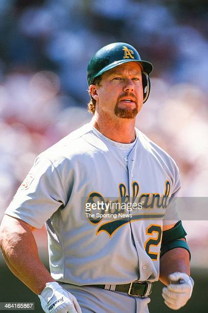 Mark McGwire of the Oakland Athletics during the game against the Anaheim Angels on June 22 1997 at Edison Field in Anaheim California