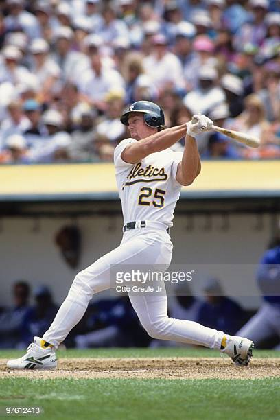 Mark McGwire of the Oakland Athletics plays first base during a game in the 1989 season at OaklandAlameda County Coliseum in Oakland California