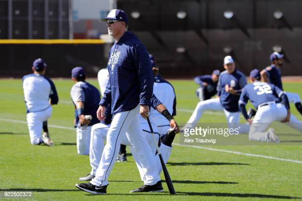 Mark McGwire of the San Diego Padres looks on during workouts on Tuesday February 20 2018 at the Peoria Sports Complex in Peoria Arizona