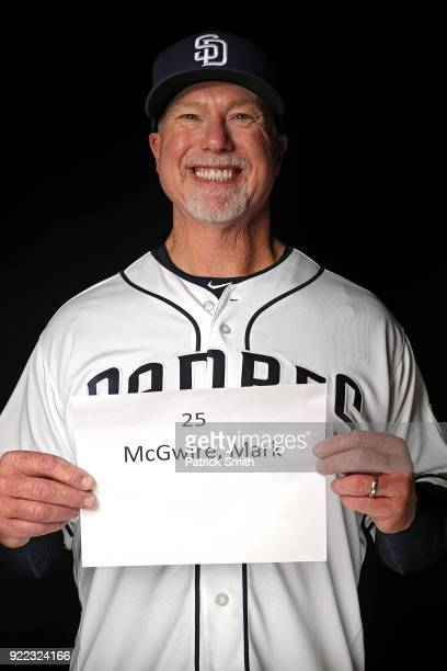 Mark McGwire of the San Diego Padres poses on photo day during MLB Spring Training at Peoria Sports Complex on February 21 2018 in Peoria Arizona