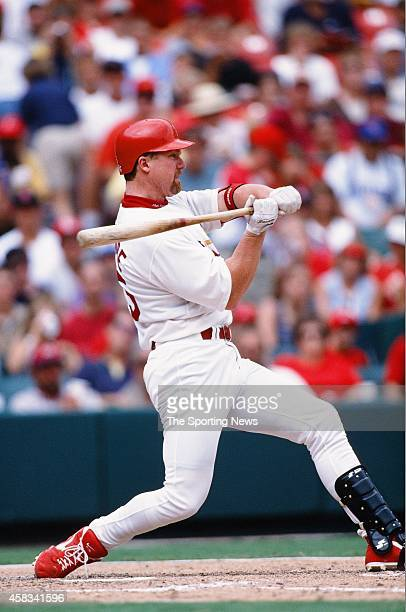 Mark McGwire of the St Louis Cardinals bats against the Chicago Cubs at Busch Stadium on August 9 1998 in St Louis Missouri