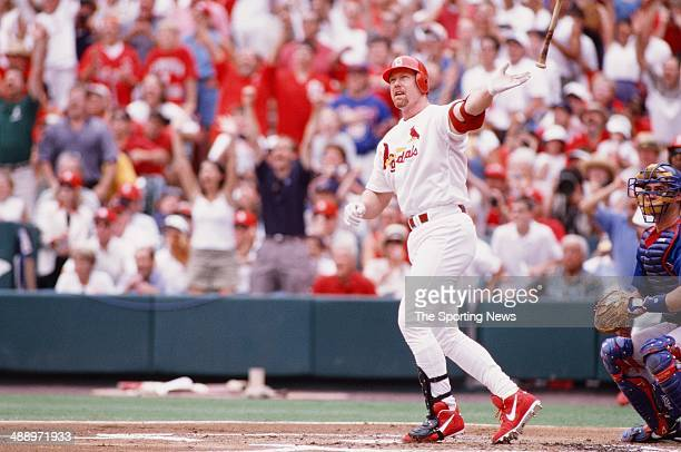 Mark McGwire of the St Louis Cardinals bats against the Chicago Cubs at Busch Stadium on September 7 1998 in St Louis Missouri