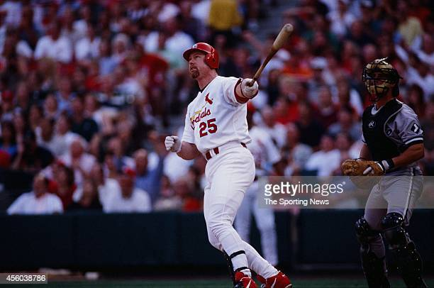 Mark McGwire of the St Louis Cardinals bats against the Chicago White Sox at Busch Stadium on July 16 1999 in St Louis Missouri