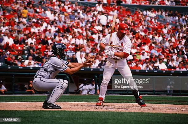 Mark McGwire of the St Louis Cardinals bats against the Milwaukee Brewers at Busch Stadium on April 8 1999 in St Louis Missouri The Crdinals defeated...