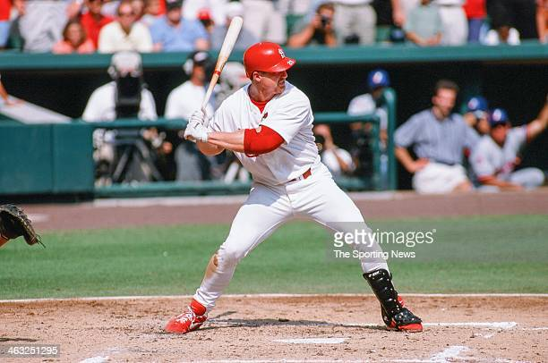 Mark McGwire of the St Louis Cardinals bats during the game against the Montreal Expos on September 27 1998 at Busch Stadium in St Louis Missouri...