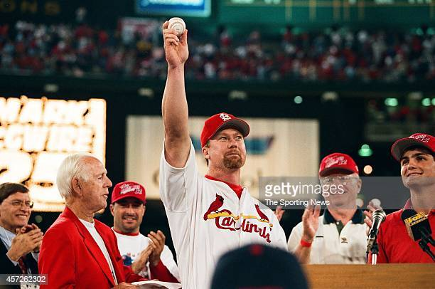 Mark McGwire of the St Louis Cardinals celebrates against the Chicago Cubs at Busch Stadium on September 8 1998 in St Louis Missouri