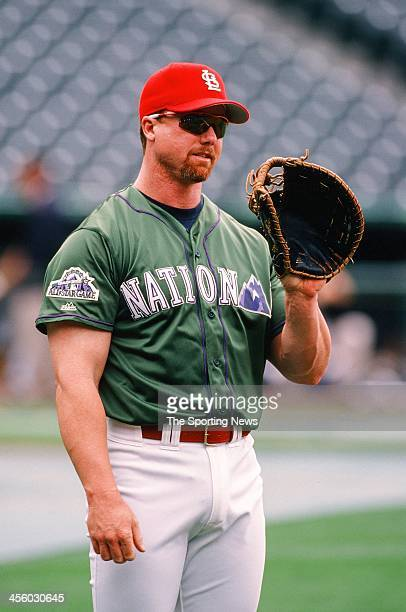 Mark McGwire of the St. Louis Cardinals during the All-Star Game on July 7, 1998 at Coors Field in Denver, Colorado.