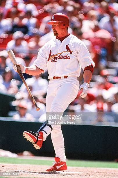 Mark McGwire of the St Louis Cardinals during the game against the Florida Marlins on May 17 1998 at Busch Stadium in St Louis Missouri