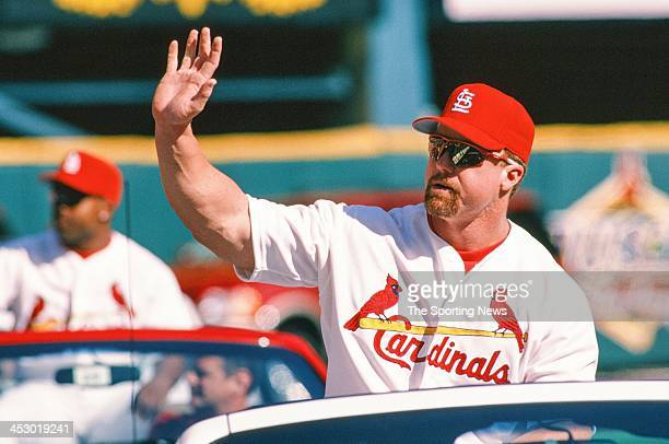 Mark McGwire of the St Louis Cardinals during the Opening Day game against the Los Angeles Dodgers on March 31 1998 at Busch Stadium in St Louis...