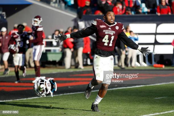 Mark McLaurin of the Mississippi State Bulldogs reacts as time runs out in the fourth quarter of the TaxSlayer Bowl against the Louisville Cardinals...