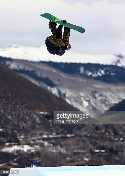 Mark McMorris of Canada goes airborne to win the gold medal in the Men's Snowboard Slopestyle during Winter X Games Aspen 2013 at Buttermilk Mountain...
