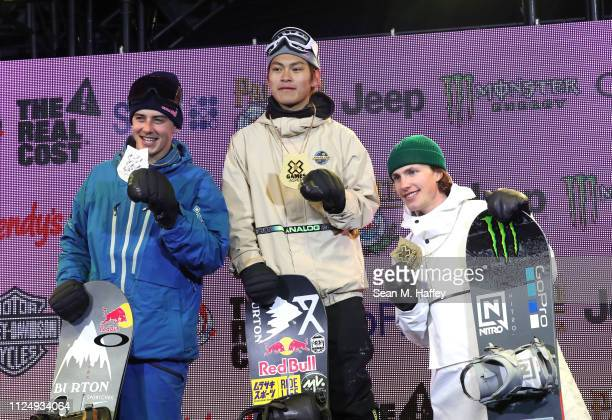 Mark McMorris of Canada second place Takeru Otsuka of Japan first place and Sven Thorgren of Sweden stand on the podium after receiving medals for...
