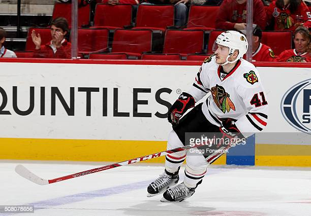 Mark McNeill of the Chicago Blackhawks skates for position on the ice during an NHL game against the Carolina Hurricanes at PNC Arena on January 26...