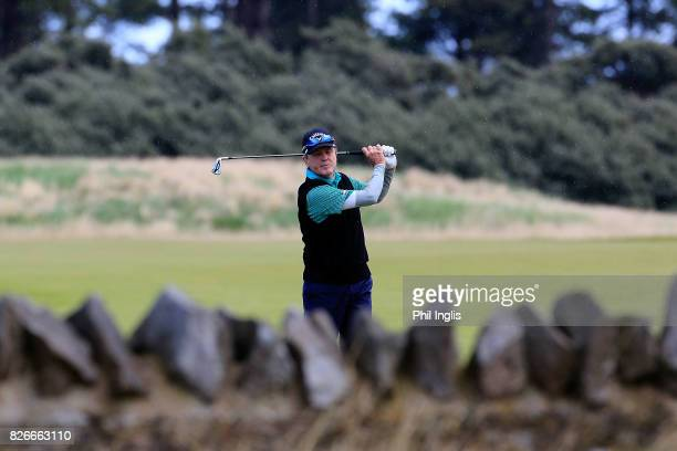 Mark McNulty of Ireland in action during the second round of the Scottish Senior Open at The Renaissance Club on August 5 2017 in North Berwick...