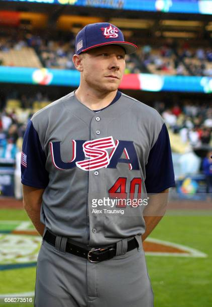 Mark Melancon of Team USA is seen on the field during introductions before Game 2 of the Championship Round of the 2017 World Baseball Classic...
