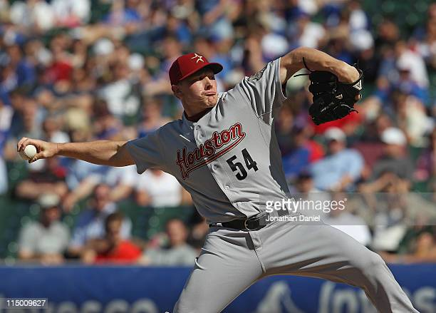Mark Melancon of the Houston Astros pitches his way to a save in the 9th inning against the Chicago Cubs at Wrigley Field on June 1 2011 in Chicago...